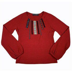 Keita Maruyama Wool Red Boho Ribbon detail LS Top